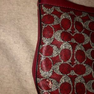 Coach signature jacquard zip top small tote
